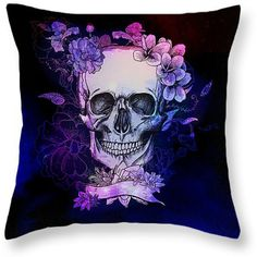 Sugar Skull Throw Pillow Floral Purple Twilight Space Skull ($30) ❤ liked on Polyvore featuring home, home decor, dark olive, decorative pillows, home & living, home décor, purple toss pillows, purple home accessories, floral home decor and skull home accessories