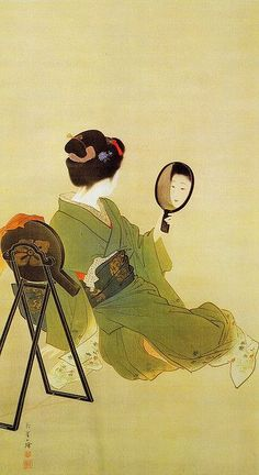 A woman admiring the reflection in her mirror, Japan, by Uemura Shoen. Shoen was the first woman to receive the Order Of Cultural Merit from the Japanese government in Japanese Art, Japanese, Japanese Artists, Culture Art, Painting, Japanese Woodblock Printing, Art, Art History, Eastern Art