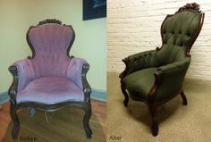 Check out this before and after! This gorgeous forest green fabric is just enchanting!