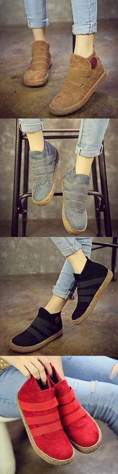 US$16.26 Elastic Slip On Pure Color Ankle Flat European Style Boots