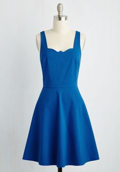 Care to Romance? Dress in Royal Blue. Sitting across from your sweetheart in this cobalt blue dress, it takes but a glance to romance! #blue #modcloth
