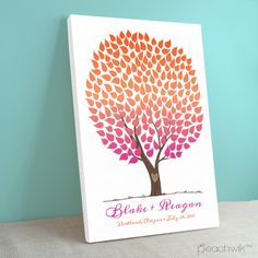 Tangerine & Pink Wedding Tree Guest Book    Guest Book Alternative Gallery Wrapped Canvas   Rainbow & Ombre Wedding   Peachwik