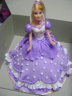 purple doll cake My grandmother use to make me doll cakes years ago! Barbie Doll Birthday Cake, Barbie Torte, Make Birthday Cake, Barbie Cake, Happy Birthday Cakes, 4th Birthday, Rodjendanske Torte, Elsa Cakes, Dress Cake