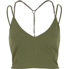 River Island Khaki chain crop top ($32) ❤ liked on Polyvore featuring tops, crop tops / bralets, khaki, women, green cami, spaghetti-strap top, cropped camisole, bralet crop top and strappy cami