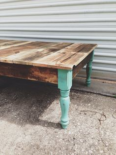 Reclaimed Barn wood coffee foyer sofa table. Turquoise jade green blue legs modern farm industrial on Etsy, $350.00