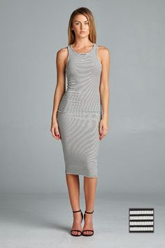 Simple, fitted, striped bodycon dress. Dress it up or dress it down. Fitted but comfortable. Made in USA.  www.cherishusa.com www.fashiongo.net/cherish