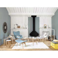 Skandinavische Fußbank aus blauem Stoff | Maisons du Monde