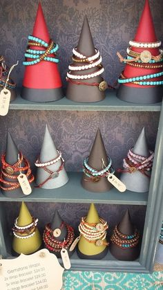 DIY Jewelry Display Cones - Carol Brammer This would be great for the Jan sow, I have lots of cardstock! DIY Bracelet Display C - Craft Fair Displays, Bracelet Displays For Craft Shows, Diy Bracelet Display Stand, Craft Show Ideas, Art And Craft Shows, Jewellery Storage, Jewelry Organization, Jewellery Box, Jewellery Shops