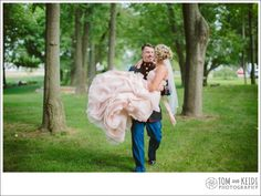 military wedding in the forest with a pink wedding dress!!!!