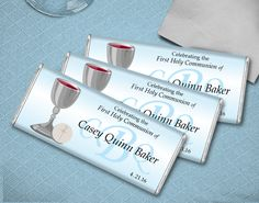 First Holy Communion Favors for Boys: Monogrammed Candy Bar Wrapper - Great DIY party favors