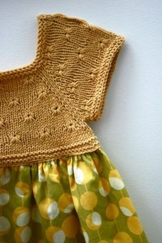 knit the top half of a pretty summer jumper pattern and add it to a bright vintage fabric skirt and create your own pretty mixed textile vintage folk style dresses in adult or childrens sizes Robe