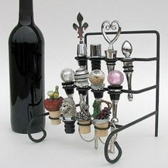 Wine Bottle Stopper Display Rack for my growing collection.- gift for mother in law