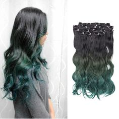 Find More Clip in Hair Extensions Information about 8pieces/lot heat resistant synthetic full head clip in hair extensions body wave ombre weave hair green ombre brazilian hair,High Quality clip in color hair extensions,China clip in hair clips Suppliers, Cheap clip earrings for sale from Fantasy Hair on Aliexpress.com