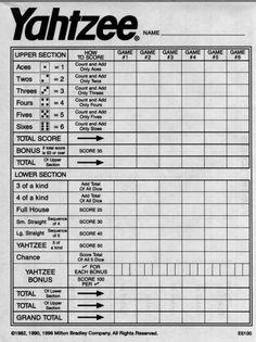 yahtzee score sheets free printable | Blank Yahtzee Score Sheet