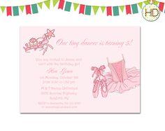 Ballet Invitation, Princess Ballerina Birthday Party, Ballet Dance Invitation, Ballerina Invite