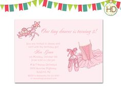 Ballet Invitation, Princess Ballerina Birthday Party, Ballet Dance Invitation, Ballerina Invite