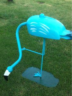 Tiffany blue metal flamingo yard art sculpture