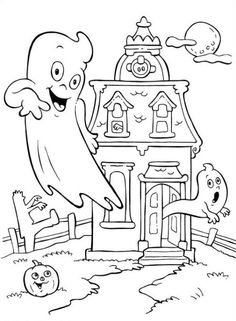 printable coloring page for halloween of a skeleton in a haunted