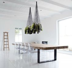 Wine Bottles to Chandelier