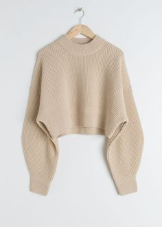 Cropped Wool Blend Sweater - Beige - Sweaters - & Other Stories Beige Pullover, Cropped Pullover, Cropped Knit Sweater, Pullover Outfit, Beige Sweater, Striped Sweaters, Oversized Sweaters, Winter Sweaters, Sweater Weather
