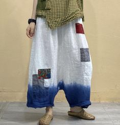 Women Linen white pants, Loose Wide Leg Trousers, Pants With Pockets, large size trousers, long Pants Wide Leg Trousers, Trousers Women, Cotton Long Dress, Gown Photos, Elastic Waist Pants, Gowns With Sleeves, Blue Coats, Patchwork Dress, Linen Pants