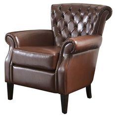 """I pinned this Downeti Arm Chair (AKA Franklin Club Chair) at Joss and Main!   •Construction Material: Bonded leather  •Features: Great for corners or foyers due to its slightly smaller size  •Dimensions: 33"""" H x 33.8"""" W x 32.75"""" D  $226.95"""