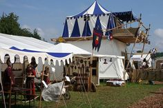 "Really cool two-story tent by kookykrys, via Flickr  Post says this is from ""a highland games in Switzerland"""