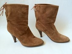 Vintage Honey Brown Suede Heeled Boots 8 by Baxtervintage on Etsy