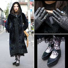 Awabimeshi is a Dir en Grey fan with a love of gothic fashion who we snapped in Harajuku. Her look features purple makeup, an antique fur coat, a black lace dress from Kazuko Ogawa, eerie-eery tights, and rings from Alice Auaa and Abilletage (worn over black gloves). (Tokyo Fashion, 2014)