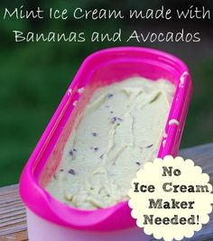 Vegan Banana Avocado Mint Ice Cream with Chocolate-covered Cocoa Nibs - a healthier dessert