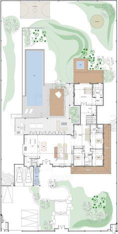 Cozy Room No less Within: Villa Moshav in Sharon - Xnet Modern House Floor Plans, Pool House Plans, Home Design Floor Plans, New House Plans, Dream House Plans, Small House Plans, Modern Architecture House, Architecture Plan, Planer Layout