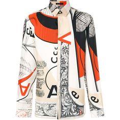 Versace Bauhaus print shirt ($1,225) ❤ liked on Polyvore featuring men's fashion, men's clothing, men's shirts, men's casual shirts, mens multi coloured shirts, mens long sleeve collared shirts, versace mens shirt, mens patterned shirts and mens long sleeve silk shirt