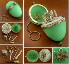 This truly stunning egg shaped apple green opaline etui is fitted  with gilt miniature sewing tools and has an attached chain and finger ring for suspension.The tools are all there, including working scissors, thimble, needle case,bodkin and stiletto, a full set of items, all tucked into their fitted velvet compartments.  Wonderful apple green opaline etui with ormolu decorative mounts.  The set is complete and elegant. The tools all fit their spaces well and are matching and original.