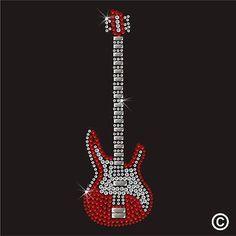 Música De Guitarra Rhinestone Diamante transferencia Hierro en Hotfix Cristal T Shirt Estampado