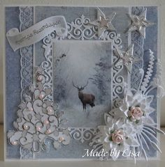 Voorbeeldkaart - Kerstkaart met hert, - Categorie: Scrapkaarten - Hobbyjournaal uw hobby website Christmas Cards To Make, Vintage Christmas Cards, Xmas Cards, Christmas Greetings, Handmade Christmas, Holiday Cards, Vintage Cards, Tattered Lace Cards, Shabby Chic Cards