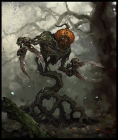 Pumpkin Warrior (Cutter) by AlexanderExorcist on DeviantArt Plant Monster, Monster Art, Fantasy Kunst, Dark Fantasy Art, Arte Horror, Horror Art, Fantasy Creatures, Mythical Creatures, Character Art