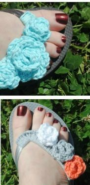 Flip Flop Flowers   Easy, inexpensive, and gorgeous--this crochet flower pattern will dress up any pair of flip flops to give them that great summery feeling.