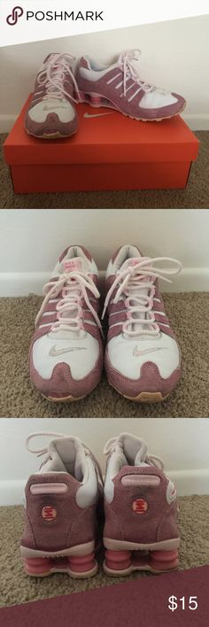 Nike Shox Athletic Shoes Nike Shox athletic shoes in pink and white are a size 8. They have been worn a handful of times and are in good condition. A small part of the front right toe rubber section has peeled off and can be seen in picture one. Comes with box. Nike Shoes Athletic Shoes
