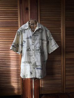 0b913c6c Items similar to Vintage Cooke St Mens Hawaiian Shirt, Aloha Shirt, Hawaiian  Sailboats in Honolulu Harbor Nautical Print, Tiki Bar Attire, Cruise Ship  Wear ...