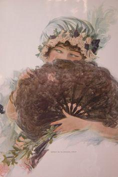Lithograph Artist Signed Henry Hutt - 1912 Lady w/ Fan