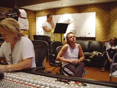 """Metallica get busy on """"St.Anger"""" album in the studio. Bob Rock attends to the desk, while kirk looks on, Lars looks thoughtful, while James work on St. Buckingham Nicks, Lindsey Buckingham, St Anger, Bob Rock, Vintage Music, Fleetwood Mac, Great Movies, Classic Rock, Music Stuff"""