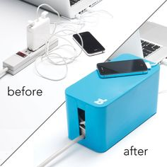 """Instead of tolerating a """"rats nest"""" of AC adapters and charge cables, let Cable Box Mini hide everything away in a cute and convenient box. Just tuck everything in and close the lid. Made from fire-re"""