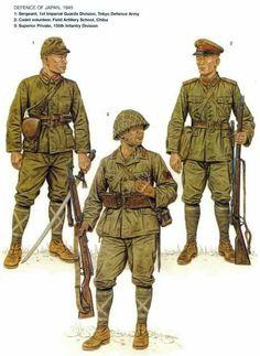 Esercito Imperiale Nipponico - Difesa del Giappone, 1945 - 1 Sergente, Prima Divisione Guardie Imperiali, Armata di Difesa di Tokyo - Cadetto Volontario, Scuola Artiglieria da campo, Chiba - 3 Soldato Scelto, 155. Divisione di Fanteria
