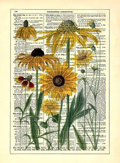 Yellow Daisies Upcycled Dictionary Art