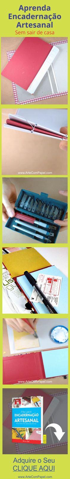 Que Aprender Encadernação Artesanal do Básico ao Avançado? Aprenda Aqui… Moleskine, Bullet Journal And Diary, Baby Quiet Book, Diy And Crafts, Paper Crafts, Bookbinding Tutorial, Ideas Prácticas, Diy Notebook, Handmade Books