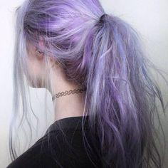 purple purple hair pastel hair ponytail Edgy pastel goth pastel ...