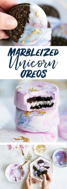 Pastel Unicorn Party Treats - Marbleized White Chocolate Dipped Oreos Marbleized white chocolate dipped unicorn oreos are the perfect party favor. Includes a video tutorial on how to make fully dipped oreos using candy molds. Yummy Treats, Delicious Desserts, Sweet Treats, Cool Desserts, Oreo Desserts, Sucre Candi, Chocolate Dipped Oreos, Chocolate Covered, Chocolate Treats