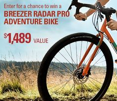 $1,489.00 Breezer Radar Pro Adventure Bike, a true multi-tool of a bike. With a butted chromoly frame and fork, hydraulic disc brakes, rack & fender mounts, and clearance for up to 2.1 inch tires. Enter to win it.