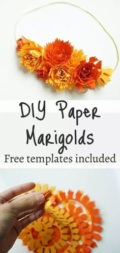 Rolled paper marigolds for crafts, free svg templates included