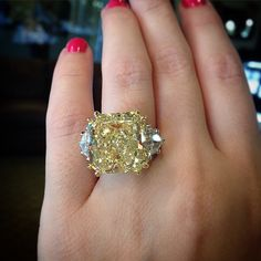 It's that time of the week again! The day we get to indulge in some sparkling, mouth watering engagement ring eye candy. After swooning over square halo engagement rings last week, this week I… Square Halo Engagement Rings, Yellow Diamond Engagement Ring, Yellow Diamond Rings, Yellow Jewelry, I Love Jewelry, Bling Wedding, Wedding Rings, Colored Diamonds, Yellow Diamonds